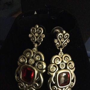 "Brighton red stone earrings 'bright & shine. 2"""